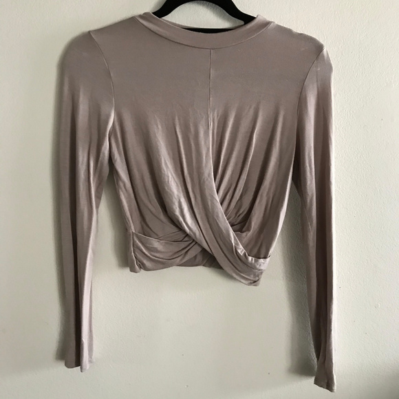 High neck long sleeve stretchy tie crop top